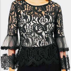 NEW SAY WHAT blouse black lace bell sleeve